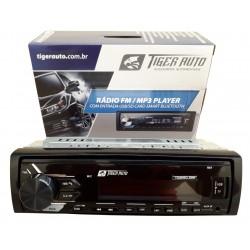 Rádio MP3 Player Automotivo Tiger Auto 4x45W Rms 1 Din com USB SD AUX RCA FM Bluetooth